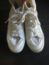 Next Girls White Cotton Lace Up Trainers Flat Casual Shoes 4 UK 37 EU VGC