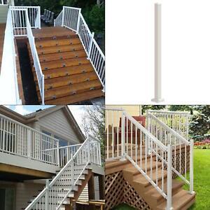 4 in. x 4 in. x 42 in. white aluminum stair post | peak railing porch durable