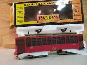 MTH RAIL KING TRAIN BRILL SEMI CONVERTIBLE STREET TROLLEY CAR W/PROTO 30-2512-1
