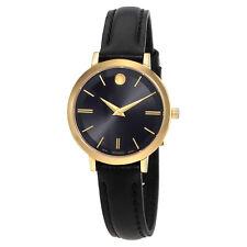 Movado Ultra Slim Black Dial Ladies Watch 0607095
