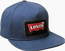 """LEVI`EMBROIDERED """"BATWING"""" SNAP BACK BASEBALL CAP HAT. NAVY BLUE, ONE SIZE , NEW"""