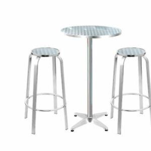 Brand New Outdoor Bistro Set Bar Table Stools Adjustable Aluminium Cafe 3PC Wood