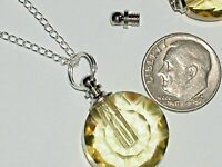 1pc Glass Round pendant cremation urn ashes bottle Screw cap NECKLACE * Yellow