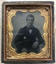 US Civil War Era Tintype Portrait of Man In Suit Ornate Gold Leaf Frame