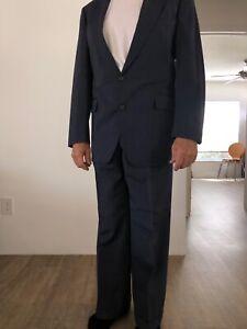 Ralph Lauren Blue Gray Wool Suit 42r Vintage Retailed at $1000.