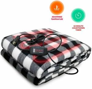Zento Deals Premium Vehicle Electric Heated Blanket Black and White - 12 Blanket