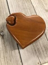 Cute Vintage Wooden Heart Shaped Puzzle Jewelry Box