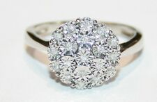 Very Impressive Looking 9ct White Gold Diamond Cluster Ring Size M