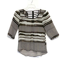 By & By Size Small Sheer Striped Round Neck 3/4 Sleeve High Low Top Blouse