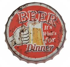 Targa placca metallo Tappo birra Beer for Dinner