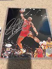 Dennis Rodman Signed Autographed Chicago Bulls 8x10 Photofile Photo! JSA!!