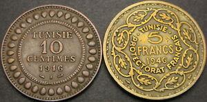 TUNISIA 10 Centimes, 5 Francs 1916A/1946 - 2 coins - 1945 ¤