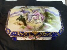 Very L;Arge Painted Limoges Type Trinket Or Jewelry Box W 18Th Scene Signed