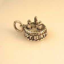 .925 Sterling Silver 3-D HAPPY BIRTHDAY CAKE W 3 CANDLES CHARM NEW 925 BD07
