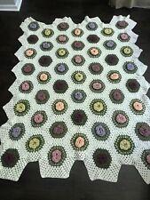 """Vintage Granny Square Afghan Bedspread ~ Blanket Flowers Patchwork Large 79x62"""""""