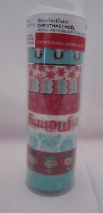 Recollections Christmas Washi Crafting Tape Blue Red Snowman Penguin etc Set 8
