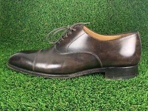 Carlos Santos Coimbra Brown Oxford Captoe Dress Shoes Goodyear Welt Sz 11 UK