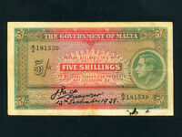 Malta:P-12,5 Shillings,1939 * King George VI * VF *