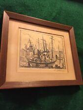 "Vintage Pencil Drawing Boat By D. Hathon Framed 7""x6"" Rex Art Supplies 1968"