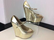 RIVER ISLAND gold Wedge Peep Toe Shoes Size 39 Uk 6 Vgc Heels Women's