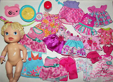 "Huge Lot Hasbro Baby Alive 14"" All Gone Doll Clothing Bottle +"