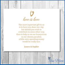 10 X PERSONALISED WEDDING MONEY POEM HONEYMOON WISH POEM GIFT POEM CARDS GOLD