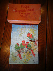 TUCK'S SWEETHEART VALENTINE WOODLAND WOOING ZAG-ZAW WOOD WOODEN FIGURAL PUZZLE