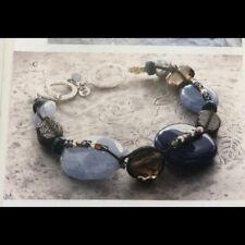 Silpada Sterling Silver Pearl Blue Watercolors Bracelet B2240 Quartz Shell HTF