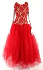 DESIGNER Red Overlay Lace & Red Tulle Full Evening Gown 6