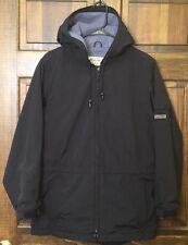 Eddie Bauer Men's Parka Jacket Coat Hood Lined Black Grey Polartec - Size S