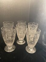 Vintage Etched Cocktail ~ Wine Glasses, Set of 5, 8 oz Footed Tumbler Glasses