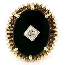 Vintage 14K Two Tone Gold Black Onyx 2pt Diamond Open Work Cocktail Ring Sz 7.5