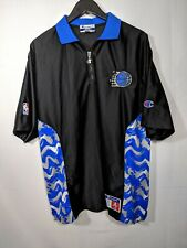 VTG CHAMPION NBA ORLANDO MAGIC SHOOTING WARM UP BLACK Jersey XL 90s Zip Shiny