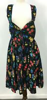 VTG 80s All That Jazz Floral Black Bow Suspender Dress Womens Sz Made in USA