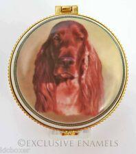 More details for alastor enamels irish red setter dog round hinged china trinket box