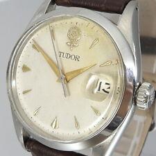 """Tudor Prince Oysterdate """"Big Rose"""" Unisex Uhr Handaufzug Stahl Leder"""