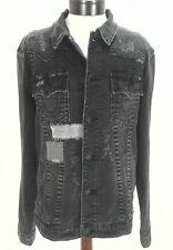 TRUE RELIGION JEANS Jacket Denim JIMMY Black MENDED BACKSTAGE Skull 2XL $269 New