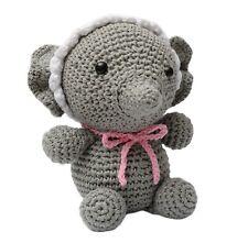 Gray Baby Elephant Handmade Amigurumi Stuffed Toy Knit Crochet Doll VAC