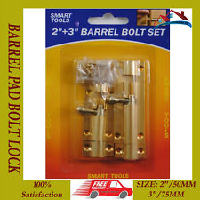 "NEW 2"" + 3"" BARREL PAD BOLT LOCK PADBOLT SHED GATE DOOR GARAGE FENCE LATCH"