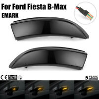 2pcs  Flowing Black LED Marker Signal Light Indicators For Ford Fiesta B-Max @