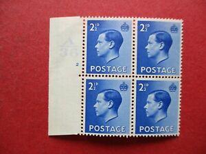 SG460 Edward VIII 1936 2.5d Blue Cylinder Block A36 2 No Dot MNH