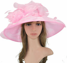 New Church Kentucky Derby Wedding Organza Wide Brim Dress Hat  Pink Color