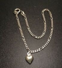 """PUFFY HEART LOVE CHARM FIGARO CHAIN ANKLET BRACELET STERLING SILVER 925 (9"""")"""