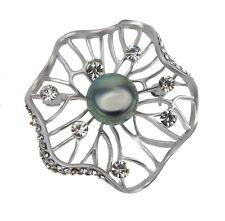 Brosche Blume silber grau by Ella Jonte filigrane silberfarbene Brosche Perle