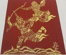 Thai Art Silk Hanuman Fight Ravana Figures Painting Ramayana Poster Home Decor