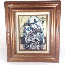 Vintage Framed Judaica Art Colored Etching Rabbi Holding Torah Carving 17x15""