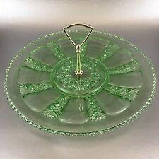 "12"" Vintage Beaded Green Vaseline Uranium Glass Snack Serving Platter Tray"