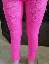 NEW GIRLS P. S. Aeropostale LACE FOOTLESS TIGHTS Size S/M PINK NEW Stars