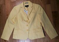 TALBOTS Pale Yellow Cotton Pique 3-Button Summer Weight Jacket - Size 2