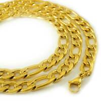 18K IP Gold Plated 316L Stainless Steel Solid FIGARO CHAIN Men's Link Necklace
